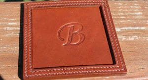 Best Christmas Gifts for 2015- Monogrammed Square Leather Coasters
